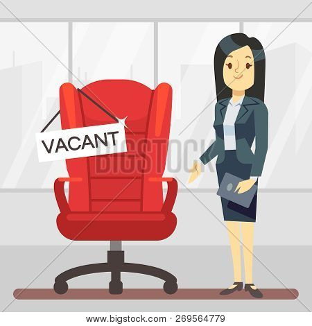 Cute Cartoon Character Hr Manager And Empty Boss Chair. Employment, Vacancy And Hiring Job Vector Co