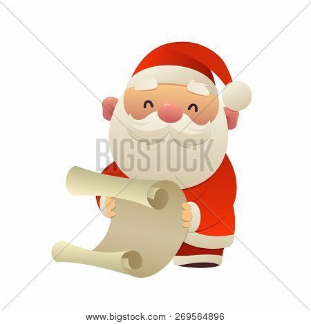 Cute Santa Claus Reads Paper Letter Wish List Isolated