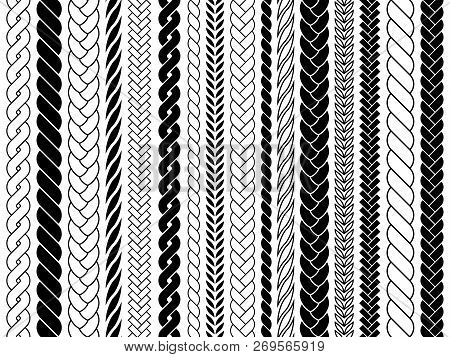 Plaits And Braids Pattern Brushes. Knitting, Braided Ropes Vector Isolated Collection. Braid Pattern