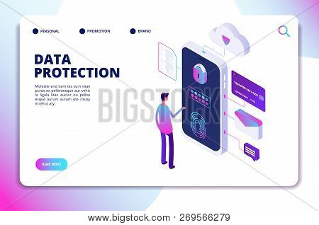 Data Protection Isometric Concept. Personal Identity, Protected Document Finance Security. Confident
