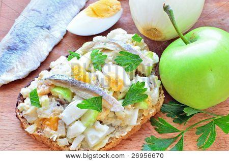 Forshmak - Jewish appetizer with herring on wholegrain rye bread