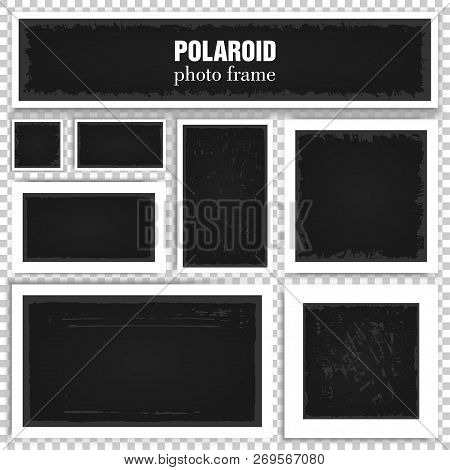 Set Of Realistic Polaroid Frames With Shadows Isolated On Transparent Background. Old Empty Square A