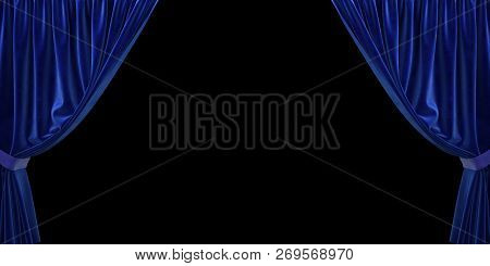 Blue Velvet Curtain Open To The Sides, On A Black Background. 3d Illustration