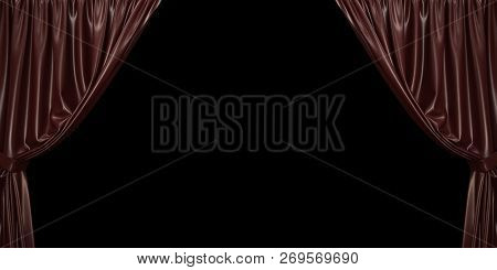 Chocolate Curtain Open To The Sides, On A Black Background. 3d Illustration