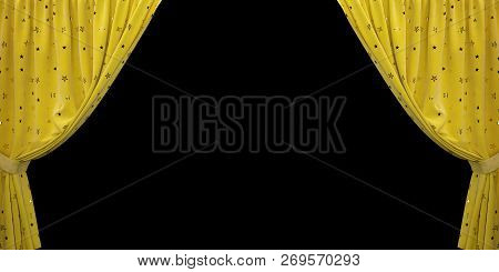 Yellow Velvet Curtain Open To The Sides, On A Black Background. 3d Illustration