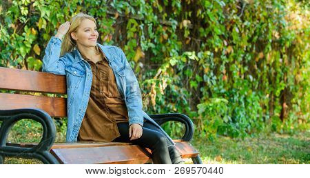 Woman Blonde Take Break Relaxing In Park. You Deserve Break For Relax. Ways To Give Yourself Break A