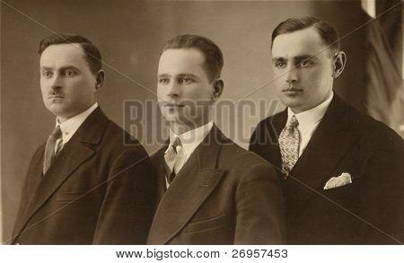 Vintage photo of three brothers (twenties)
