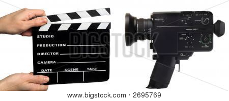 Movie Clapperboard And Camera