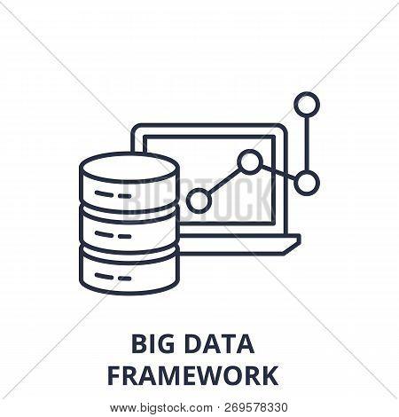 Big Data Framework Line Icon Concept. Big Data Framework Vector Linear Illustration, Symbol, Sign