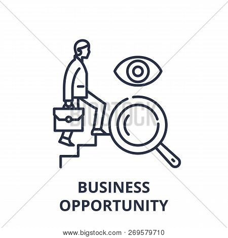 Business Opportunity Line Icon Concept. Business Opportunity Vector Linear Illustration, Symbol, Sig