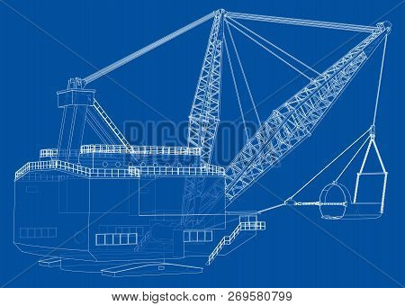 Dragline Walking Excavator. Vector Rendering Of 3d. Wire-frame Style. The Layers Of Visible And Invi