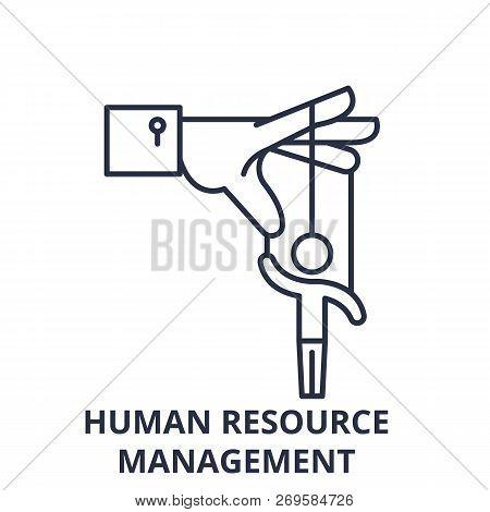 Human Resource Management Line Icon Concept. Human Resource Management Vector Linear Illustration, S