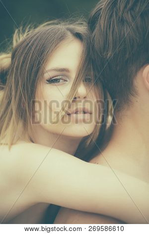 Love And Tenderness. Valentines Day. Romantic Couple Embrace. Date Of Beautiful Couple. Cute Man And