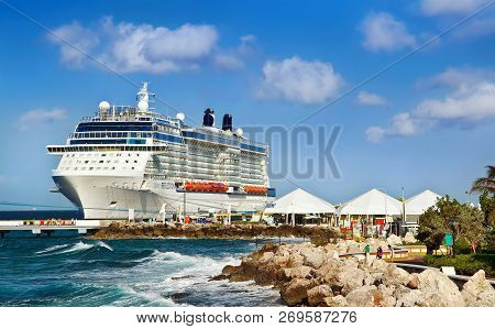 Willemstad, Curacao - April 09, 2018:  Cruise Ship Celebrity Reflection Docked At Willemstad. The Is