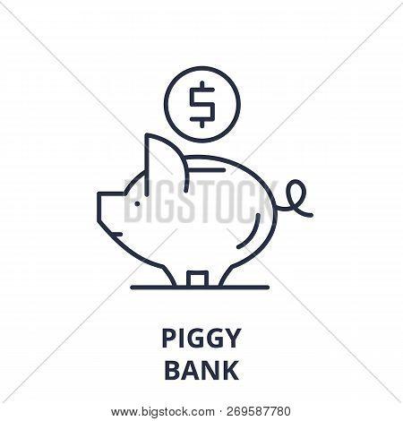 Piggy Bank Line Icon Concept. Piggy Bank Vector Linear Illustration, Symbol, Sign