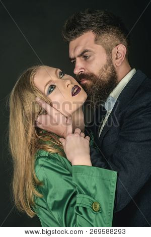 Seeing The Best In Your Lover. Fashion Style And Hair Care. Bearded Man Hug Woman With Long Hair. Co