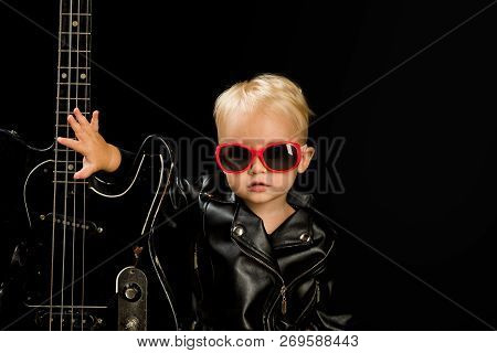 Music For Everyone. Adorable Small Music Fan. Small Musician. Little Rock Star. Child Boy With Guita