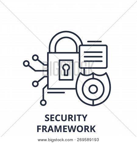 Security Framework Line Icon Concept. Security Framework Vector Linear Illustration, Symbol, Sign