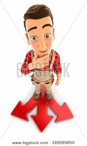 3d Handyman Difficult Choice, Illustration With Isolated White Background