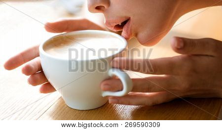My Morning Coffee. Girl Smell Aroma Coffee Cup. Fresh Morning Coffee With Milk And Cream Froth. Nice