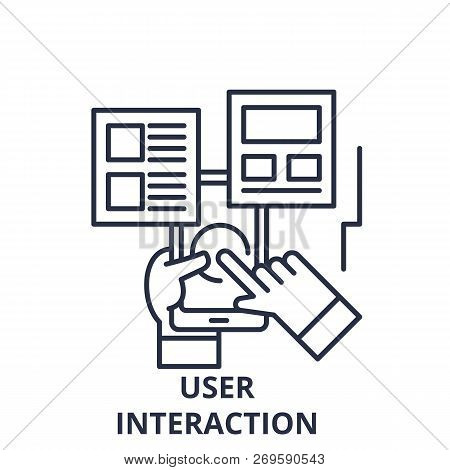 User Interaction Line Icon Concept. User Interaction Vector Linear Illustration, Symbol, Sign