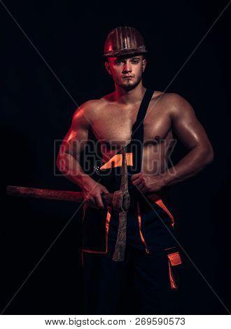 Under Construction, No Trespassing. Hard Worker With Muscular Torso. Construction Worker. Muscular M