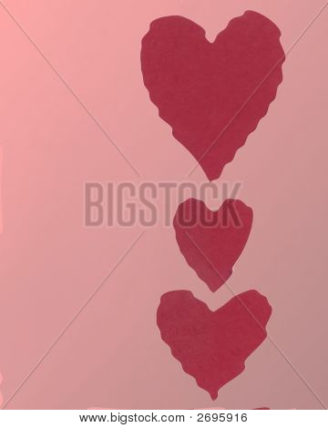 red wavy paper hearts on a pink background poster