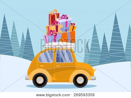 Flat Vector Cartoon Illustration Of Retro Car With Presents, Christmas Tree On Roof. Little Yellow C