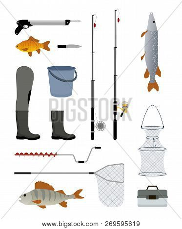 Fishing Manufacturers And Suppliers Icons Set. Reel And Fishery Rod, Line Spinning Bucket Fish And F