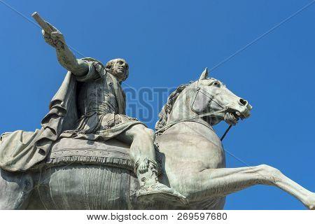Monuments At The Church Of San Francesco Di Paola Against The Blue Sky.