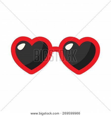 Red Heart Glasses Isolated On White Background. Heart Glasses Flat Style. Vector Stock.