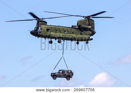Volkel, The Netherlands - Jun 15, 2013: Royal Netherlands Air Force Boeing Ch-47 Chinook Transport H