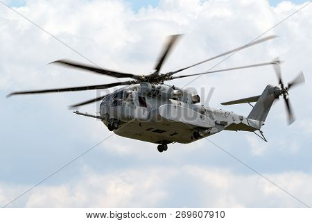 Berlin - Apr 27, 2018: New Sikorsky Ch-53k King Stallion Heavy-lift Helicopter Of The Us Marines In