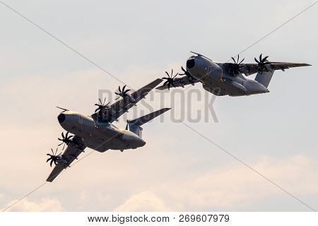 Wunstorf, Germany - June 9, 2018: Formation Of Two New German Air Force Luftwaffe Airbus A400m Milit