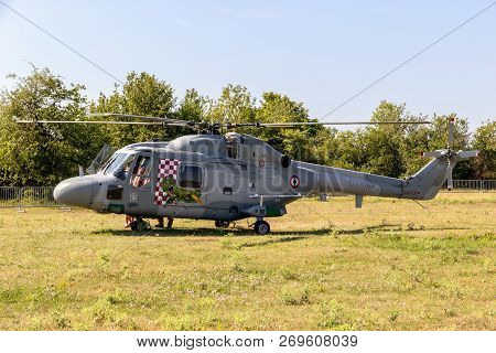Nancy, France - Jul 1, 2018: French Navy Westland Lynx Helicopter In A Grass Field At Nancy Airbase.