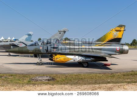 Nancy, France - Jul 1, 2018: French Air Force Dassault Mirage 2000 Fighter Jet Aircraft On The Tarma