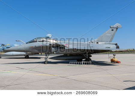 Nancy, France - Jul 1, 2018: French Air Force Dassault Rafale Fighter Jet Aircraft On The Tarmac Of