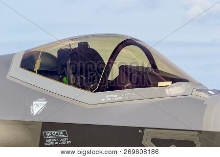Kleine Brogel, Belgium - Sep 8, 2018: Close Up View Of A Lockheed Martin F-35 Lightning Ii Fighter J