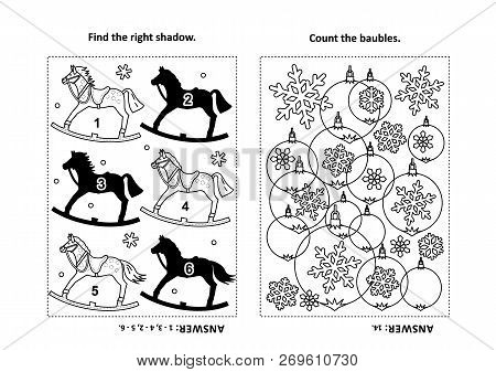 Two Visual Puzzles And Coloring Page For Kids. Find The Shadow For Each Picture Of Rocking Horse. Co