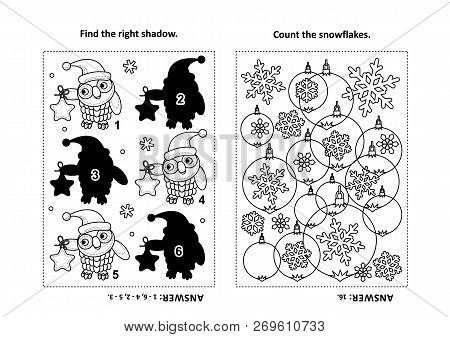 Two Visual Puzzles And Coloring Page For Kids. Find The Shadow For Each Picture Of Owl Wearing Santa