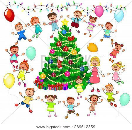 Joyful Little Children And A Teacher Near The Christmas Tree. Children Near The Christmas Tree Celeb