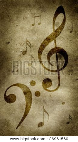 Treble and bass clefs on a grungy parchment, with other little notes