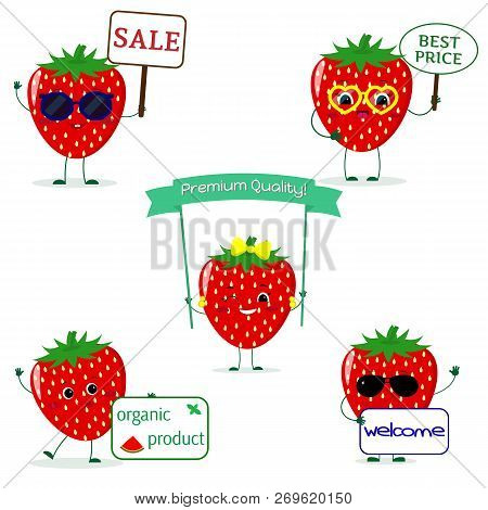A Set Of Five Strawberry Smile In Cartoon Style. With Different Plates And Glasses. Flat, Vector.