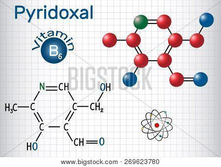 Pyridoxal Molecule, Is A Vitamin B6. Structural Chemical Formula And Molecule Model. Sheet Of Paper