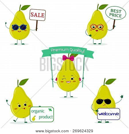 A Set Of Five Green Pear Cartoon Characters In Different Poses And Accessories With Different Plates