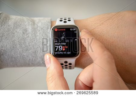 Alushta, Russia - November 6, 2018: Man Hand With Apple Watch Series 4 With Heart Rate On The Screen