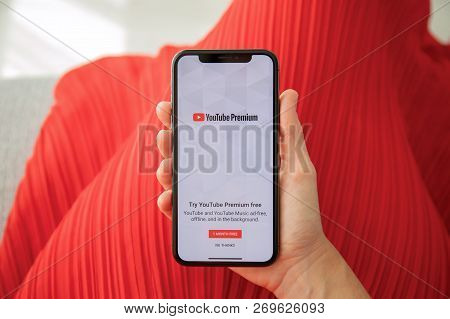 Alushta, Russia - September 27, 2018: Woman Holding Iphone X With Multinational Entertainment Compan