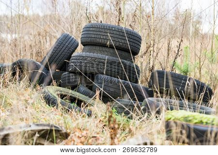 Pile Of Old Discarded Tyres On The Grass