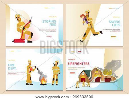 Vector Illustration Cartoon Concept Firefighter. Banner Set Stoping Fire, Saving Lifes, Fire Dept, F
