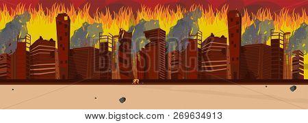 Vector Illustration Cartoon Burning City Building. Image Panorama Burning City. Buildings Are On Fir
